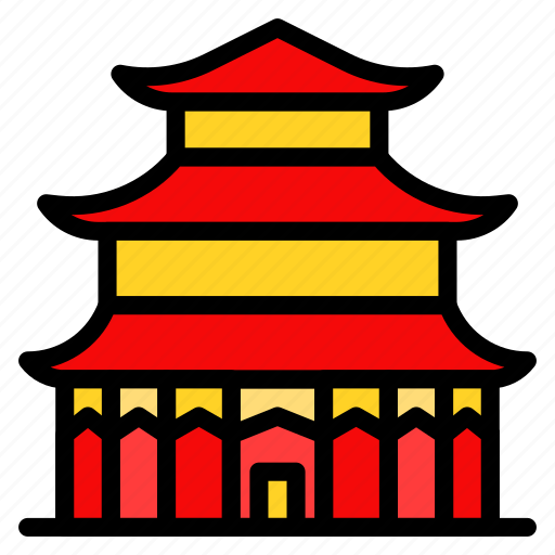 asian, castle, chinese, culture, new year icon