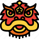 celebration, chinese, head, lion, new year icon