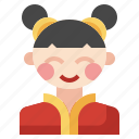 chinese, asian, cultures, user, oriental, woman icon