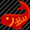 amulet, animal, carp, decoration, design, fish, marine icon