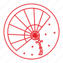 chinese, fan, new, traditional, year icon