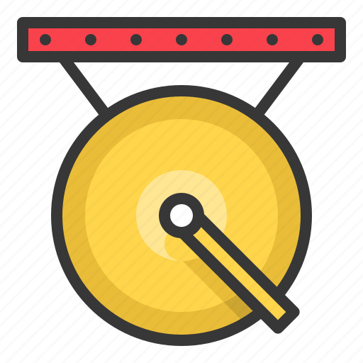 chinese, gong, new year, sound icon