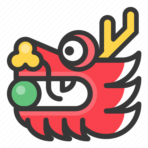 chinese dragon head new year icon