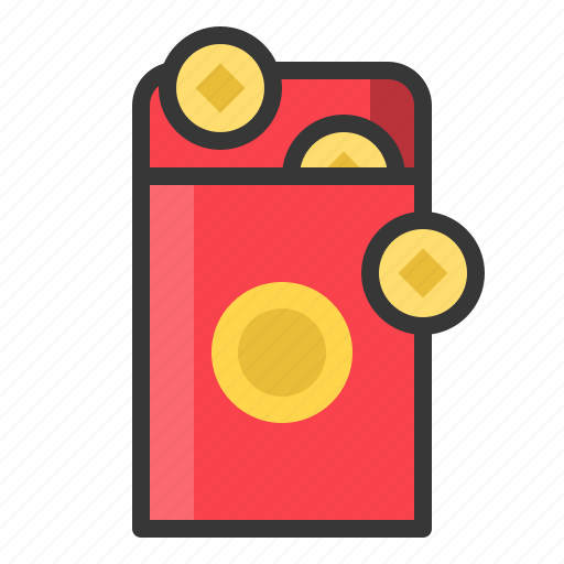 ang pau, chinese, money, new year, red envelope, reward icon