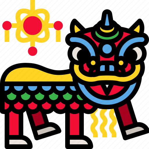 china, dance, lion, traditional icon