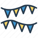bunting, christmas, decoration, party icon
