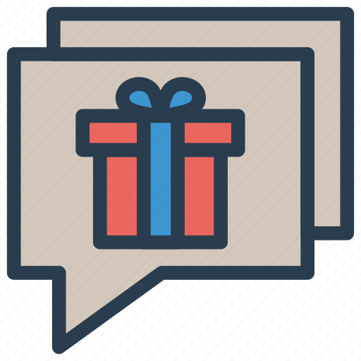 chat, conversation, gift, message icon