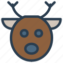 animal, christmas, face, reindeer icon