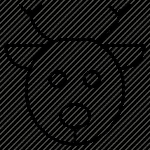 animal, christmas, face, reindeer icon