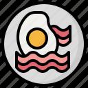 egg, bacon, cholesterol, fried, eggs, food, restaurant icon