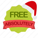 absolutely, christmas, free, label icon