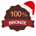 bronze, christmas, guarantee, percent icon