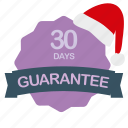 christmas, days, guarantee, label icon