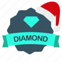 christmas, diamond, guarantee, label icon
