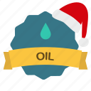 christmas, drop, guarantee, oil, ribbon icon