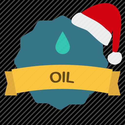 christmas, drop, guarantee, oil, ribbon icon