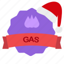 christmas, gasdrops, guarantee, oil, ribbon icon