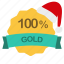 christmas, gold, guarantee, percent icon