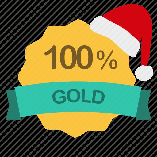 christmas, gold, guarantee, percent icon