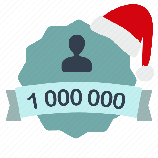 christmas, client, customer, label, million, user icon