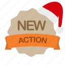 action, christmas, label, new icon