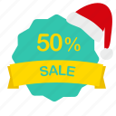 christmas, label, percent, sale icon