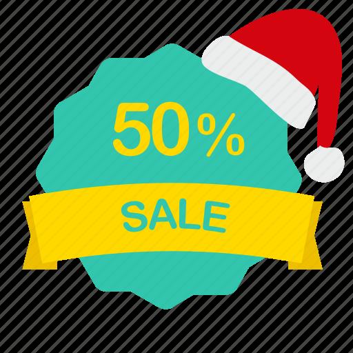 christmas, label, percent, sale icon