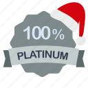 christmas, guarantee, percent, platinum icon