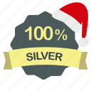 christmas, guarantee, percent, silver icon