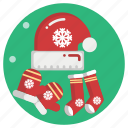 cap, socks, santa, christmas, gift, xmas icon