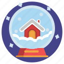 house, snow, snowball, globe, holiday, vacation icon