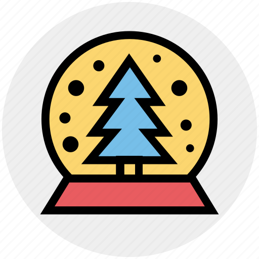 christmas, christmas tree, globe, pine, snow, tree icon