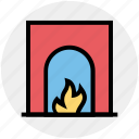 chimney, fire, fireplace, flame, furniture, interior icon