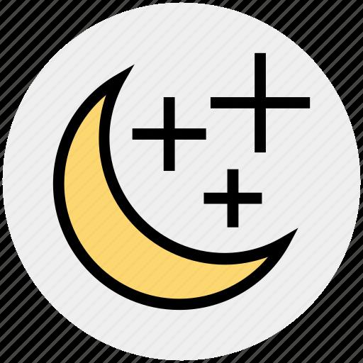 christmas, decoration, moon, moon stars, night, stars, weather icon