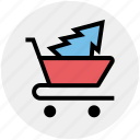 cart, christmas shopping, christmas tree, tree, tree in cart, tree shopping icon