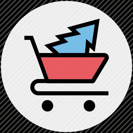 cart, christmas shopping, christmas tree, tree, tree in cart, tree shopping icon