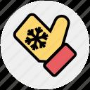 christmas, christmas glove, cold, glove, hand glove, snow flake icon