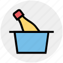 basket, bottle, cart, celebration, drink, party, trolley icon