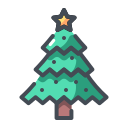 christmas decoration, christmas tree, decorated tree, pine tree, xmas icon