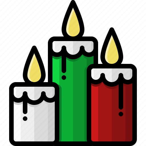 candles, christmas, fire, flames, holidays, light, wax icon
