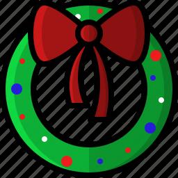 christmas, decoration, holidays, lights, wreath, xmas icon