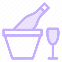 bottle, drink, glass, ice, wine icon