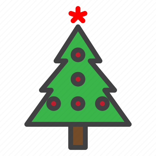 bauble, cristmass, fir, pine, star, traditional, tree icon
