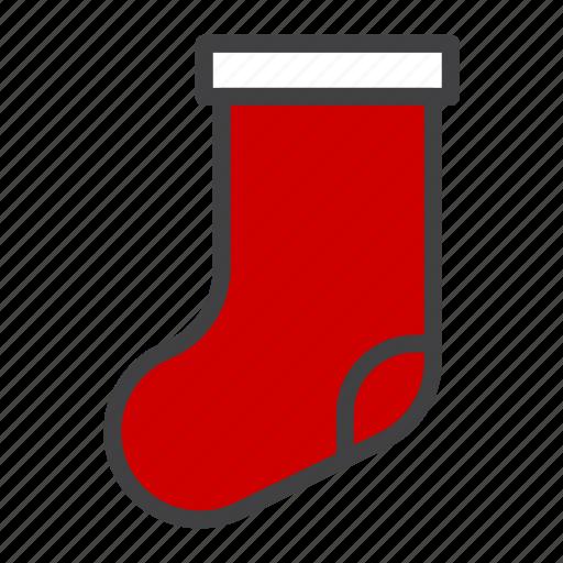 cristmass, gift, present, sock icon