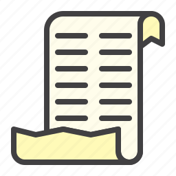 checklist, list, paper, purchases, scroll icon