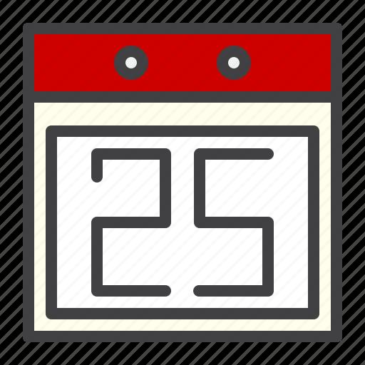 calendar, cristmass, date, day, twenty five icon