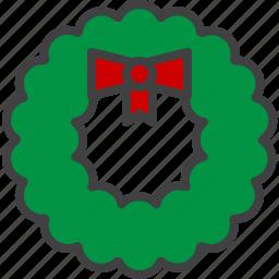 cristmass, decoration, door, wreath icon