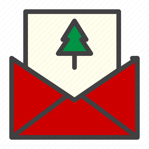 card, cristmass, envelope, mail, message, tree icon