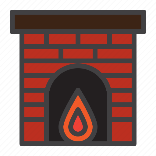 fire, fireplace, home, warm icon