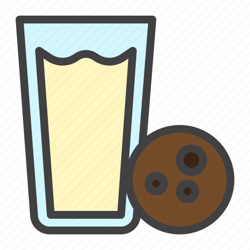 biscuit, cookie, glass, milk, snack icon